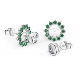 Infinity White Sapphire Platinum plated Silver Stud Earrings Emerald Halo Jacket Set
