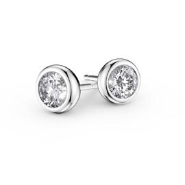 Infinity White Sapphire Platinum plated Silver Stud Earrings