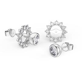 Infinity White Sapphire Platinum plated Silver Stud Starburst Earrings Halo Jacket Set