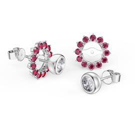 Infinity White Sapphire Platinum plated Silver Stud Earrings Ruby Halo Jacket Set