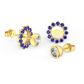 Infinity White Sapphire 18ct Gold Vermeil Stud Earrings Sapphire Halo Jacket Set