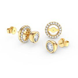 Infinity White Sapphire 18ct Gold Vermeil Stud Earrings Halo Jacket Set