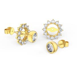 Infinity White Sapphire 18ct Gold Vermeil Stud Starburst Earrings Halo Jacket Set
