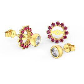 Infinity White Sapphire 18ct Gold Vermeil Stud Earrings Ruby Halo Jacket Set