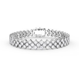 Eternity Three Row Diamond CZ Silver Tennis Bracelet