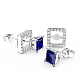 Charmisma 1ct Blue and White Sapphire 9ct White Gold Princess Stud Earrings Halo Jacket Set