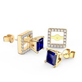 Charmisma Princess Blue and White Sapphire 18ct Gold Vermeil Stud Earrings Halo Jacket Set