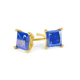 Charmisma 1ct Blue Sapphire Princess 9ct Yellow Gold Stud Earrings