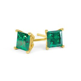 Charmisma 1ct Emerald Princess 9ct Yellow Gold Stud Earrings