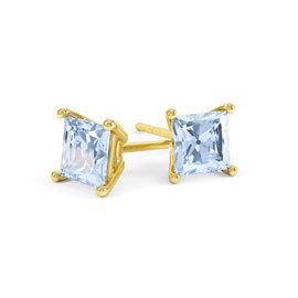 Charmisma 1ct Aquamarine Princess 18ct Gold Vermeil Stud Earrings