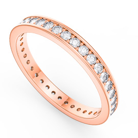 Promise White Sapphire 18ct Rose Gold Vermeil Channel Full Eternity Ring