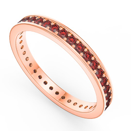 Promise Ruby 18ct Rose Gold Vermeil Channel Full Eternity Ring