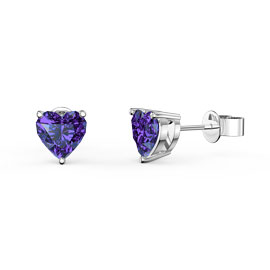 Charmisma 1ct Heart Amethyst Platinum plated Silver Stud Earrings
