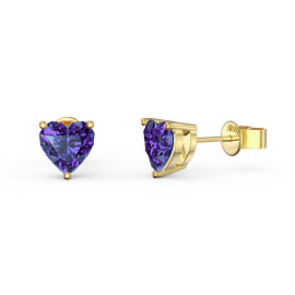 Charmisma 1ct Heart Amethyst 18ct Gold Vermeil Stud Earrings