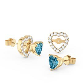 Charmisma Heart Blue Topaz  and White Sapphire 18ct Gold Vermeil Stud Earrings Halo Jacket Set