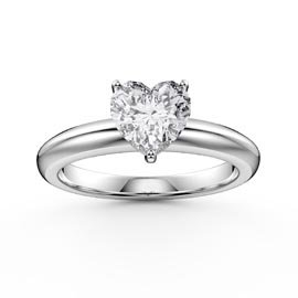 Unity 1ct Heart White Sapphire Solitaire Platinum Plated Silver Promise Ring