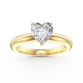 Unity 1ct Heart White Sapphire Solitaire 18ct Gold Vermeil Promise Ring