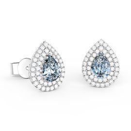 Fusion Aquamarine and White Sapphire Pear Halo Platinum plated Silver Stud Earrings