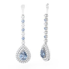 Fusion Aquamarine and White Sapphire Pear Halo Platinum plated Silver Earring Drops