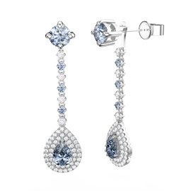 Fusion Aquamarine and White Sapphire Pear Halo Platinum plated Silver Stud Drop Earrings Set
