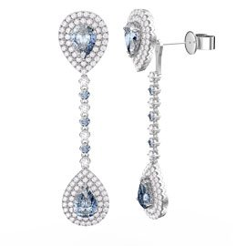 Fusion Aquamarine and White Sapphire Pear Halo Platinum plated Silver Stud and Drop Earrings Set
