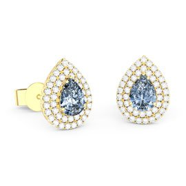 Fusion Aquamarine and White Sapphire Pear Halo 18ct Gold Vermeil Stud Earrings