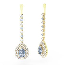 Fusion Aquamarine Pear Halo 18ct Gold Vermeil Earring Drops