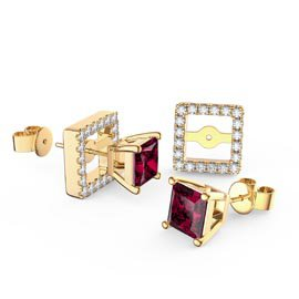 Charmisma Princess Ruby and White Sapphire 18ct Gold Vermeil Stud Earrings Halo Jacket Set