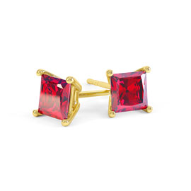 Charmisma 1ct Ruby Princess 18ct Gold Vermeil Stud Earrings