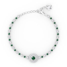 Fusion Emerald and White Sapphire Platinum plated Silver Tennis Bracelet