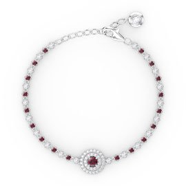 Fusion Ruby and White Sapphire Platinum plated Silver Tennis Bracelet