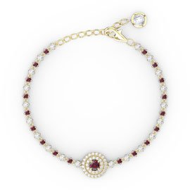 Fusion Ruby and White Sapphire 18ct Gold Vermeil Tennis Bracelet