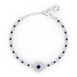 Fusion Blue and White Sapphire Platinum plated Silver Tennis Bracelet