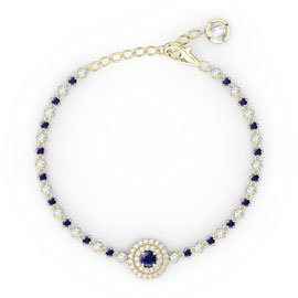 Fusion Blue and White Sapphire 18ct Gold Vermeil Tennis Bracelet