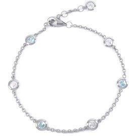 By the Yard Aquamarine Platinum plated Silver Bracelet