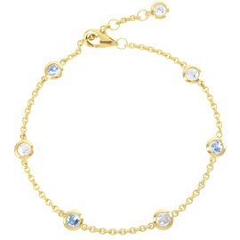 By the Yard Aquamarine 18ct Gold Vermeil Bracelet