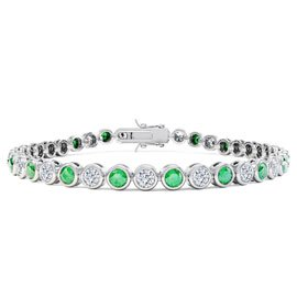 Infinity Emerald and White Sapphire Platinum  plated Silver Tennis Bracelet