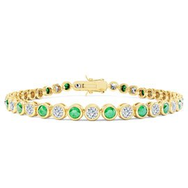 Infinity Emerald and White Sapphire 18ct Gold Vermeil Tennis Bracelet