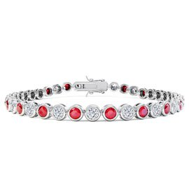 Infinity Ruby and White Sapphire Platinum plated Silver Tennis Bracelet