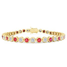 Infinity Ruby and White Sapphire 18ct Gold Vermeil Tennis Bracelet