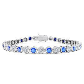 Infinity Blue and White Sapphire Platinum plated Silver Tennis Bracelet