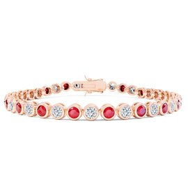 Infinity Ruby CZ 18ct Rose Gold Vermeil Tennis Bracelet