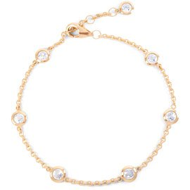 By the Yard White Sapphire 18ct Rose Gold Vermeil Bracelet