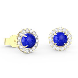 Halo Lapis 18ct Gold Vermeil Stud Earrings