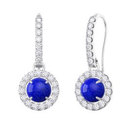 Lapis Halo 18ct White Gold Pave Drop Earrings