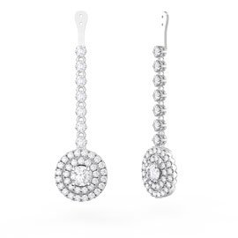 Fusion White Sapphire Halo 18ct White Gold Earring Drops
