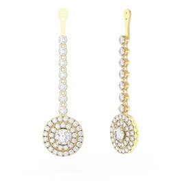 Fusion White Sapphire Halo 18ct Yellow Gold Earring Drops