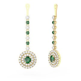 Fusion Emerald Halo 18ct Gold Vermeil Earrings Drops
