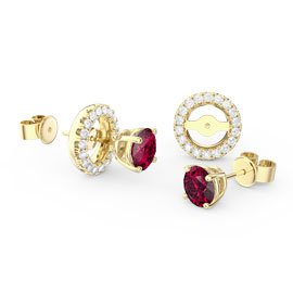 Fusion Ruby 18ct Gold Vermeil Stud Earrings Halo Jacket Set