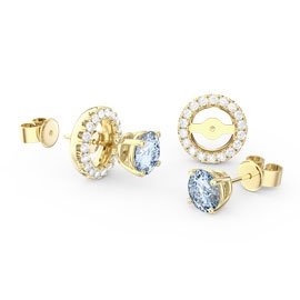 Fusion Aquamarine 18ct Gold Vermeil Earrings Halo Jacket Set